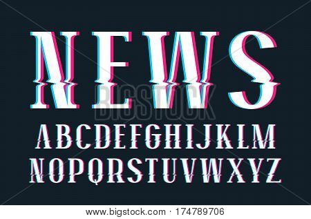 Decorative serif font with glitch distortion effect. Isolated on black background