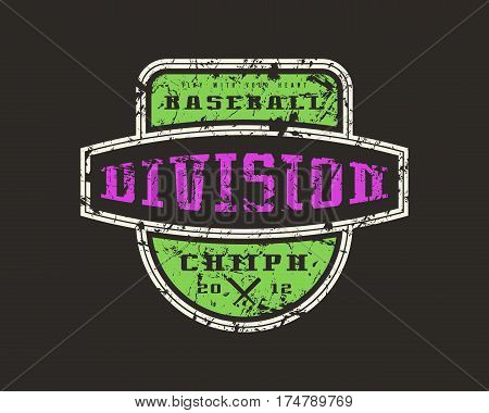 Emblem Baseball Division. Graphic Design For T-shirt
