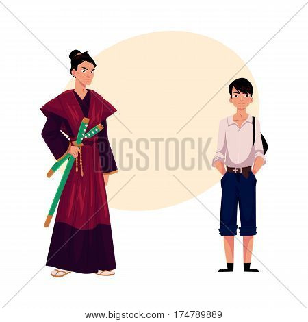 Japanese people - samurai in historical costume and typical schoolboy, cartoon vector illustration with place for text. Japanese samurai and schoolboy, typical, stereotypical people of Japan