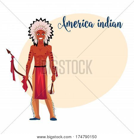 Native American Indian man in feather headdress, breechcloth and leather leggings, cartoon vector illustration with place for text. Native American, Indian man in national clothes