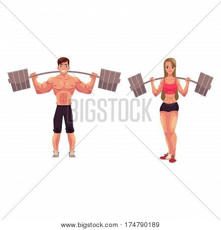 Man and woman bodybuilders, weightlifters working out, training with barbells, cartoon vector illustration isolated on white background. Full length portrait of man, woman bodybuilders with barbells
