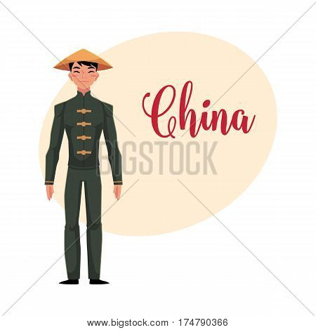 Chinese man in traditional national costume of buttoned tunic, pants in conical hat, cartoon vector illustration with place for text. Man from China in Chinese national clothes, costume