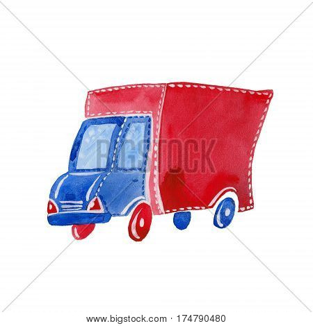 small watercolor lorry watercolor illustration on white background