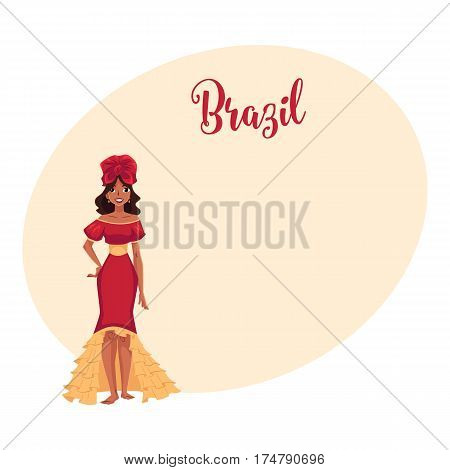 Young woman in top and ruffled skirt, barefoot Brazilian samba dancer, cartoon vector illustration with place for text. Brazilian woman in samba dancer suit, carnival, party clothing