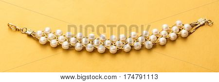 Wristband With White Beads