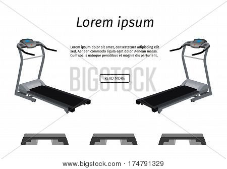 Sports trainer apparatus banner. Two running tracks and three steps isolated on a white background. Flat vector illustration.
