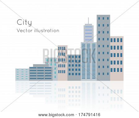 Big city vector on white background. Block of flats with lights off. Day time is shown. Buildings are situated close near by each other. Structures has light reflection in flat style cartoon design
