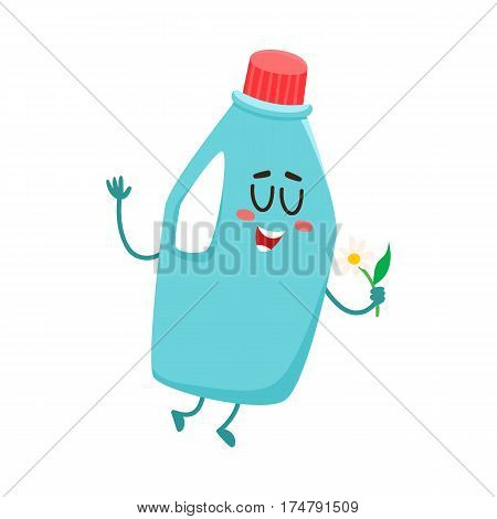 Funny detergent bottle character with smiling human face holding a flower, cartoon vector illustration isolated on white background. Smiling detergent bottle character, house cleaning concept