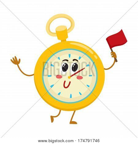 Funny stopwatch, timer, timekeeping character with smiling human face, sport equipment cartoon vector illustration isolated on white background. Smiling stopwatch, timer, timekeeping character