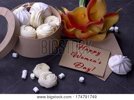 Bouquet Of Green Yellow Callas With Marshmallows In A Wooden Round Box On A Gray Wooden Background L