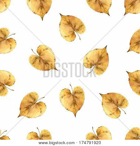 Simple autumn seamless pattern with yellow leaves. Watercolor illustration