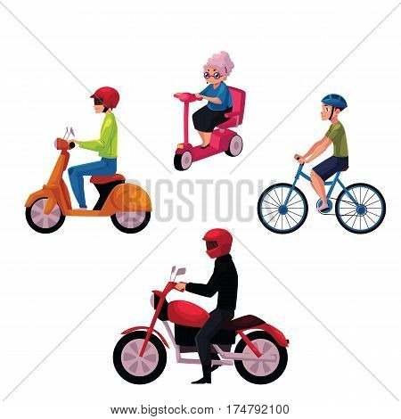 People riding bicycle, scooter, motorcycle, urban motor transport concept, cartoon vector illustration isolated on white background. People riding on motor transport - bicycle, scooter, motorcycle