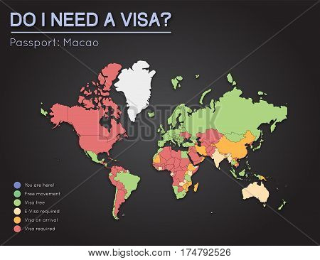 Visas Information For Macao Special Administrative Region Passport Holders. Year 2017. World Map Inf