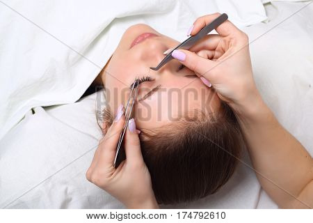 Woman Eye with Long Eyelashes. Eyelash Extension. Lashes. Close up, selective focus