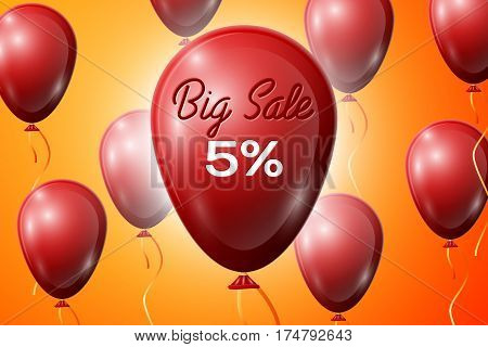 Red Balloons with an inscription Big Sale five percent Discounts. SALE concept for shops store market, web and other commerce. Vector illustration.