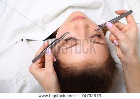 Woman Eye with Long Eyelashes. Eyelash Extension. Lashes. Close up, selective focus