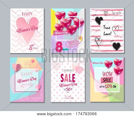 Sale Discount special offer banners, posters, flyers set for 8 March Happy Women's Day, Eighth March Spring Holiday Sale, gift card, voucher, flyer. Futuristic, 8 March logo design. Marketing. Set of Advertising Vector illustration, romantic cards, banner