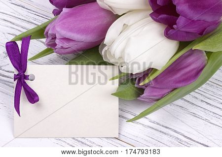 Purple And White Tulips With White Paper On A White Wooden Background With Card For Text. Womans Day