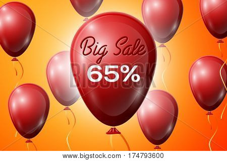Red Balloons with an inscription Big Sale sixty five percent Discounts. SALE concept for shops store market, web and other commerce. Vector illustration.