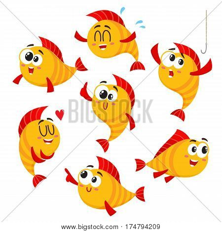 Cute, funny golden, yellow fish characters with human face showing different emotions, cartoon vector illustration isolated on white background. Set of yellow fish characters, mascot, design elements