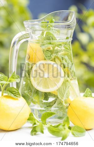 Detox water with mint and lemon in the garden