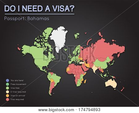 Visas Information For Commonwealth Of The Bahamas Passport Holders. Year 2017. World Map Infographic
