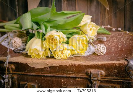 The bunch of yellow tulips in daylight lying on a retro suitcase. Horizontal studio shot. Spring morning still life