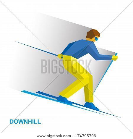Winter Sports - Alpine Skiing. Cartoon Skier Running Downhill