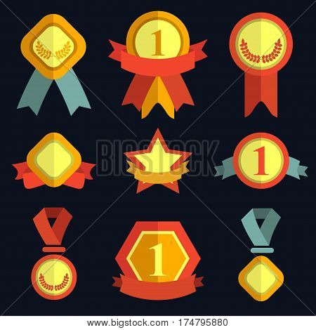 Awards medals icons set in trendy flat style