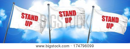 stand up, 3D rendering, triple flags