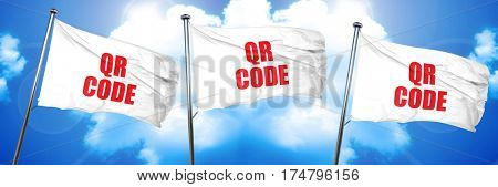 qr code, 3D rendering, triple flags