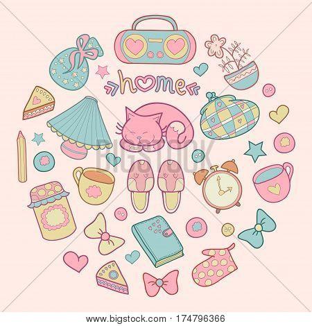 Sweet Home, set of vector design home elements, cute cat, cups of coffee, cake, jam, sneakers, alarm clocks etc