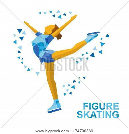 Ladies Figure Skating. Cartoon Skating Girl Training. Ice Show.