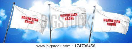 Norwegian krone, 3D rendering, triple flags