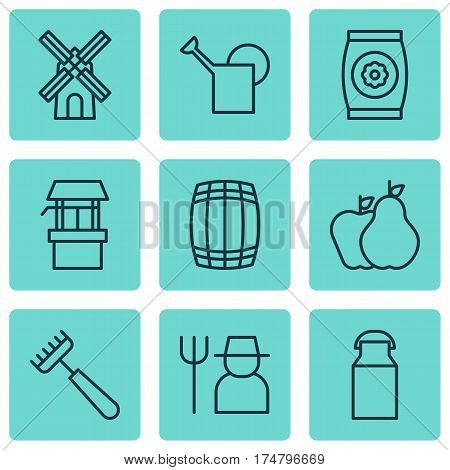 Set Of 9 Garden Icons. Includes Cask, Rake, Bailer And Other Symbols. Beautiful Design Elements.