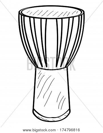 Isolated outline of a conga drum, Vector illustration