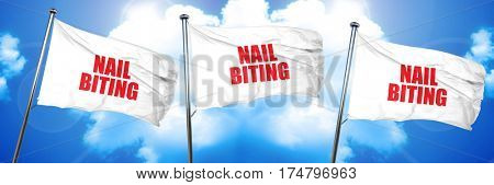 nail biting, 3D rendering, triple flags