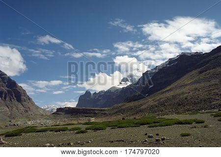 Tarboche Valley at the beginning of the pilgrimage ritual route around Sacred Mountain Kailash in Western Tibet.