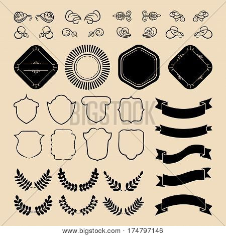Beg vector set of ribbons, laurels, wreaths, labels and speech bubbles in flat style
