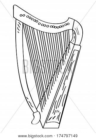 Isolated outline of a harp, Vector illustration