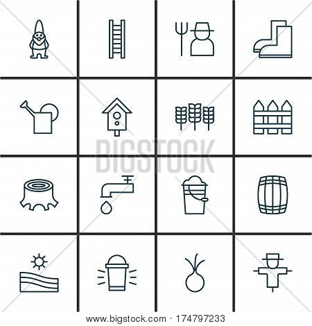 Set Of 16 Gardening Icons. Includes Meadow, Spigot, Garlic And Other Symbols. Beautiful Design Elements.