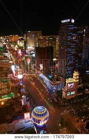 LAS VEGAS ,USA OCT 09: Night Panorama of Las Vegas Boulevard The Strip. Hotels and casinos of Las Vegas gambling capital. Night life. OCT 09 2016 Las Vegas Nevada USA