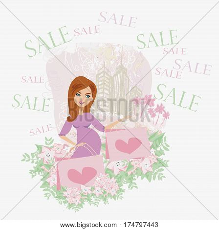 Beautiful pregnant woman - shopping card , vector illustratrion