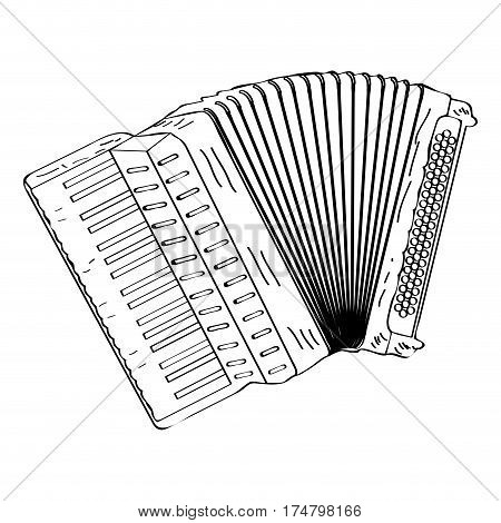 Isolated outline of an accordion, Vector illustration