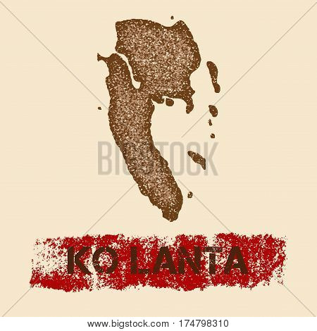 Ko Lanta Distressed Map. Grunge Patriotic Poster With Textured Island Ink Stamp And Roller Paint Mar