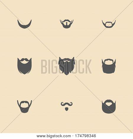 Big vector set of different men beard, mustache in trendy flat style
