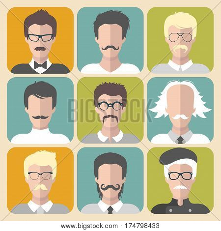 Vector set of different man with moustache app icons in flat style