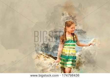Cute teenage girl in light summer dress posing on a huge stone on a background of Cretan sea and mountains. Sunny beach in sea Bay of resort village Bali Rethymno Crete Greece. Digital watercolor painting