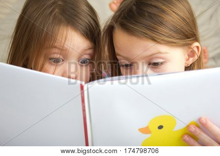 Two children reading a story book together