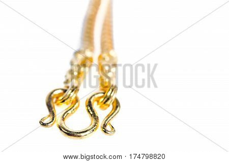Gold Necklace 96.5 Percent Thai Gold Grade With Gold Hook Isolated On White